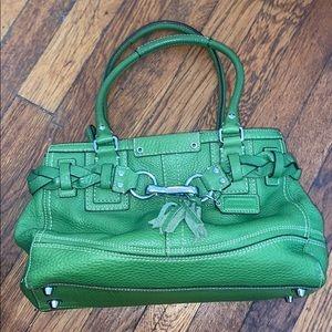 Coach Hampton satchel green leather purse F13084